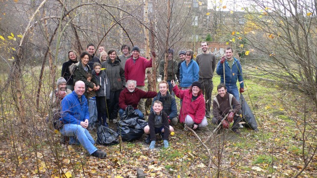 A group of volunteers at the North Kelvin Meadow Clean-Up